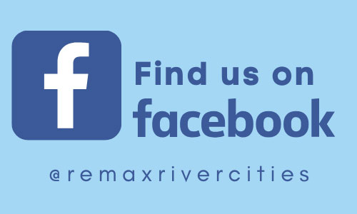 "Graphic reading: ""Find us on Facebook - @remaxrivercities"" accompanied by the Facebook logo"