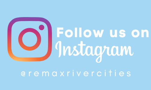 "Graphic reading ""Follow us on Instagram - @remaxrivercities"" accompanied by the Instagram logo"